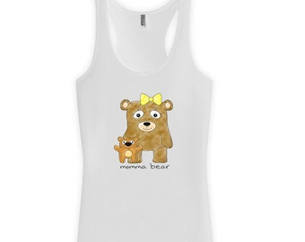 Momma Bear Racerback or Tank Top - Gifts for mom from daughter, mothers day from daughter, funny shirt, t-shirts, ladies clothes CT-288