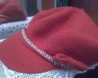 CAP, orange colored wool beret