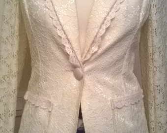 Jacket long sleeves lace cream