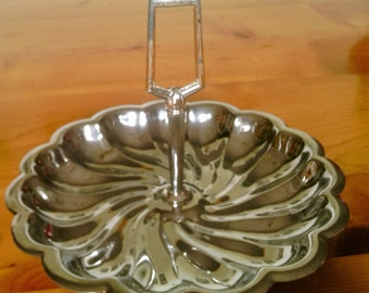 Vintage Mid Century Chrome Handled Tidbit Tray  Made By Shelton Ware