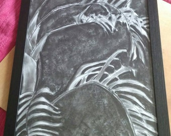 Original, hand-drawn in charcoal- Charcoal Palms