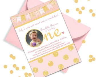 Pink and Gold First Birthday Invitation with Thank You card! Photo Birthday invitation and Photo Thank You Card!