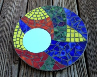Stained Glass Mosaic Mirror, Multi-color, Round Hanging Mirror, Abstract Design, Bright Colors, Primary Colors, Stained Glass Mirror