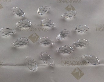 6 pieces Swarovski #6010 Crystal Clear 13x6.5mm Briolette Teardrop Pendants Faceted Beads