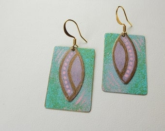 Green and Mauve Pastel Earrings