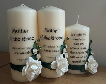 Candles for the Bride and Groom Mums and  Memorial Candles