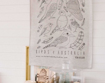 LINEN TEATOWEL 2 PACK | Birds & Wildflowers of Australia