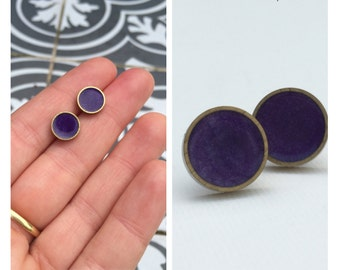 Purple Stud Earrings. Titanium Hypoallergenic Studs.