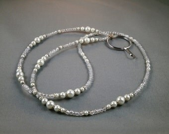 """Cute breakaway lanyard necklace with bead chain 32"""" to 40"""" long beaded ID badge holder leash strap ,magnetic ,toggle or no clasp ,unique"""