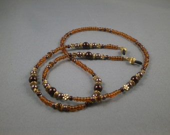 "Eyeglasses lanyard necklace with bead chain 26"" to 32""  Beaded glasses holders or ring strap , cute Brown Crystal leash for women , unique"