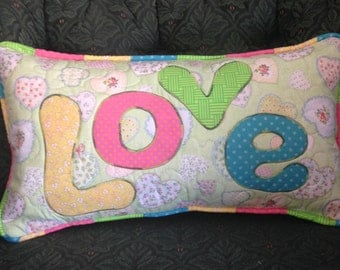 """Handmade quilted & appliqued """"Love"""" pillow"""