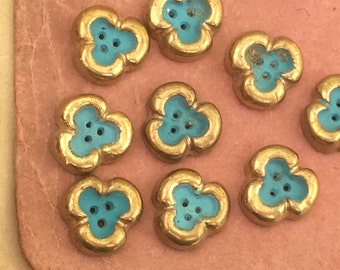 Pair of vintage 1950 handmade French ceramic buttons, light blue & gold three leaf clover good luck charm children clothing, jewellery