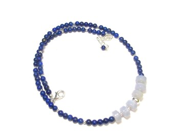 Stones fine necklace and Silver 925 - lapis lazuli and chalcedony