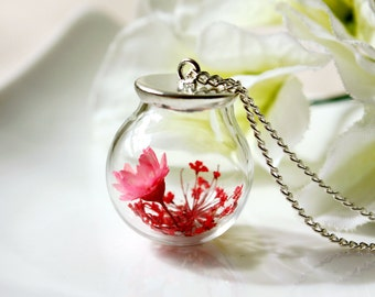 Orb / necklace / red / Terrarium Necklace, Botanical Jewelry, Real Flower, Japanese Style, Cherry Blossom, Pressed Flowers, Gift for her