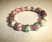 Aromatherapy Bracelet ~ RainFlower Ocean Jade in pink/green