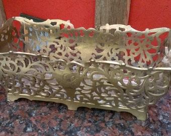 Vintage Pierced Brass Trough Planter