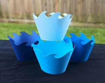 Blue waves cupcake wrappers nautical sea ocean sun 12 ct wraps ombre shades Moana