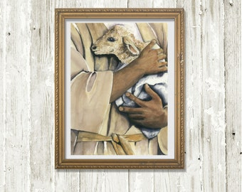 "Faith Art - Christian Art - Watercolor Print "" My Shepherd"" from original art painting - sheep shepherd - Psalm 23 - Christian Home Decor"