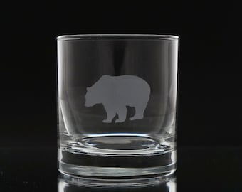 Bear Whiskey Glass- Etched Whiskey Glass- Scotch Glass- Bear Barware- Etched Glass - Sand Blasted Glass - Etched Glass Gift - Wildlife Glass