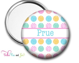 Pocket Mirror Personalised with Name - Candy 5.7cm (2.25 inches)