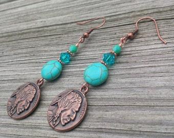 Turquoise Earrings Indian Head Nickel Earrings Copper Earrings Swarovski Coin Earrings Buffalo Nickel Native American Turquoise Jewelry