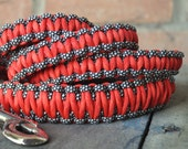 Red-Orange and Black & White Paracord 6ft Dog Leash
