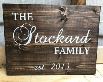 Custom Family Name Wood Sign