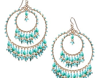 Double Hoop Chandelier Earrings //Big Statement Earrings //Turquoise Chandelier Earrings //Extravagant Hoops //Prom Earrings //