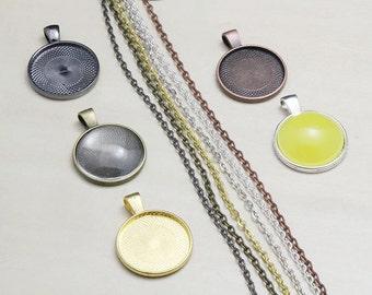 "1"" Bezel Tray Kits -1"" blank bezel pendant trays - 25mm Round glass cabs - rolo chain necklaces - DIY Pendant Kits"