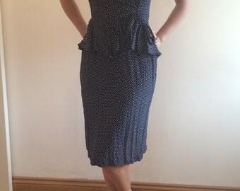 Navy blue polka dot 80s does 40s peplum dress