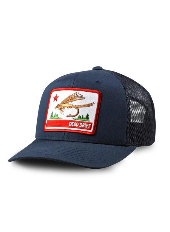 Fly fishing hat california flag snap back trucker by dead for Fly fishing trucker hat