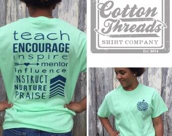 Monogrammed Teacher T-shirt, Teacher T-Shirt, Teacher Appreciation Gift, Teacher Shirt, Monogrammed Teacher Shirt, Monogrammed Chevron Apple