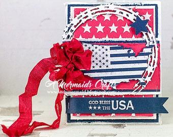 Handmade Patriotic God Bless the USA Greeting Card
