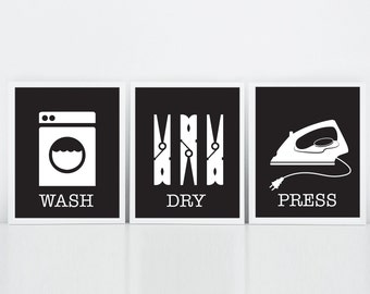 Laundry Room Art, Wash Dry Press, Laundry Room Decor, Set of Three Prints, Black and White, Modern Laundry Room