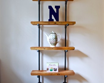 Reclaimed Wood Bookcase, Industrial Pipe Shelving Unit with Reclaimed Wood, Industrial Bookshelf, Industrial Shelves, Reclaimed Wood Shelf