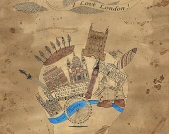 Map of London. I Love London !, Instant download,Vintage image digital