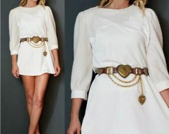 Vintage 80's 1980's White Lace Jersey Mini Dress Nautical Dress Jersey Dress Puff Sleeves S