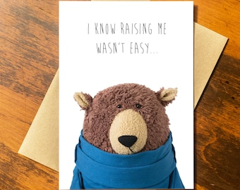 Card for Parents -  Bear Card  - Funny Recycled Paper Greeting Card - Recycled Paper made in USA using Wind Power