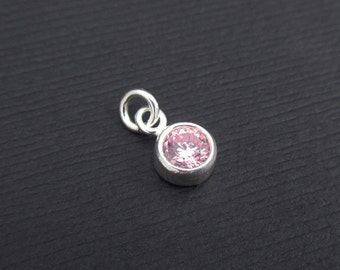 Add a Birthstone Charm Dangle - October Birthstone Charm Sterling Silver, Rose CZ Charm Dangle, Birthstone Charms, Bezel Charms