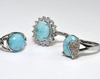 Larimar Natural Three Rings (Wholesale) Premium Jewelry .925 Sterling Silver