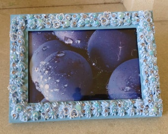 WINTER SALE!! Blue Blinged Decoden Photo Frame