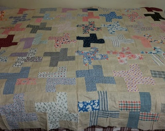 SALE! Vintage Feed Sack Signature Autograph Quilt Top with Novelty Fabric  in Pinwheel Pattern