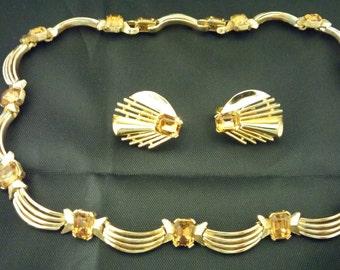 1960's TRIFARI Demi Parure Amber Rhinestones set in Goldtone Metal Necklace and Clip-on Earrings