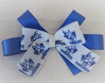 kangaroos set of 2 hair clips blue white AFL football Australia