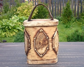 kitchen decor, flour canister, big storage canister, kitchen canisters, housewarming gift, birch bark, country style, rustic decorating,