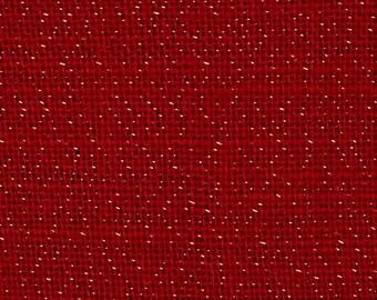 Burlap, red sparkle table  runner  fringed