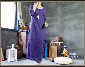 Purple silk maxi layered slit dresses BonLife