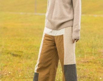 Linen patch wide leg pants trousers BonLife