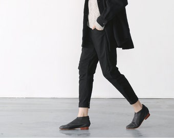 Black fleece pencil trousers pants  BonLife