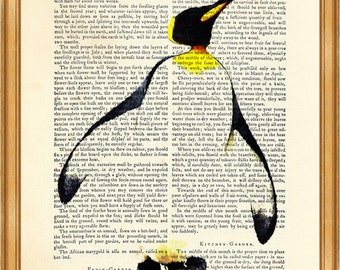 Penguin Animation DICTIONARY ART PRINT on Vintage Dictionary Page 8'' x 10'' from up-cycled book